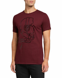 Karl-Lagerfeld-Mens-T-Shirt-Red-Size-XL-Outline-Head-Graphic-Tee-49-093