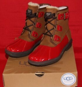 e4c67fae589 Details about UGG Australia Women's Cecile Red Waterproof Leather Lace Up  Boots BRAND NEW
