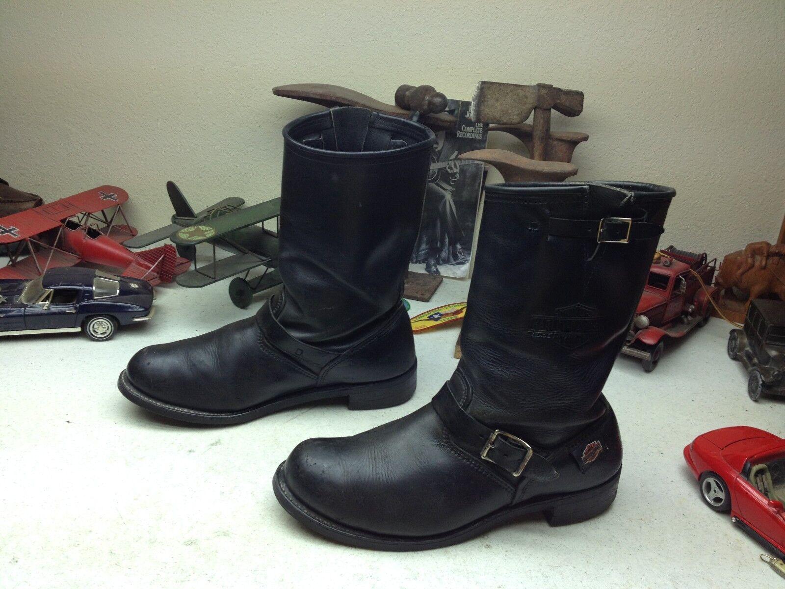 VTG HARLEY-DAVIDSON USA schwarz LEATHER MOTORCYCLE ENGINEER BOSS BIKER Stiefel 12 D