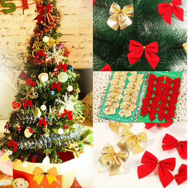 Christmas Tree Bows Red.24x Christmas Tree Bow Decoration Baubles Xmas Party Bows Red Silver Gold