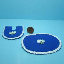 Dollhouse Miniature Ecru Bathroom Rug Set with Lace and Flower Decal ~ BA260CR