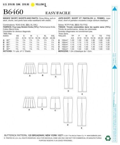 Butterick Ladies Easy Sewing Pattern 6460 Pleated Skort Free UK P/&P Sh...