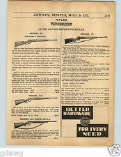 1936 PAPER AD Winchester Rifle Model 53 71 64 Deer Lever Action Remington 141A