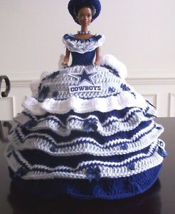 Details about HANDMADE Year 2017 HAND CROCHET NFL TEAM BED PILLOW BARBIE  DOLLS