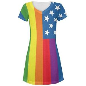 5a1eb7149 4th of July LGBT American Flag Rainbow All Over Juniors V-Neck Dress ...