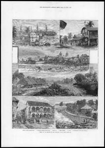 1881-Antique-Print-SOUTH-AMERICA-PANAMA-Canal-Views-Port-Colon-Pueblo-199