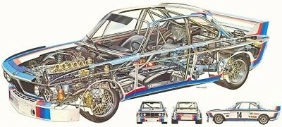 A3 BMW 3 5 CSL Cutaway Drawing Wall Poster Art Picture Print