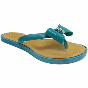 0ede9f24c982 Details about NEW WOMENS LADIES JELLY FLIP FLOPS TOE POST THONG DIAMANTE  BOW SUMMER BEACH SIZE