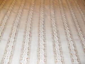 IVORY LINEN CHAINETTE Open weave woven STRIPE DRAPERY FABRIC New VTG Casement