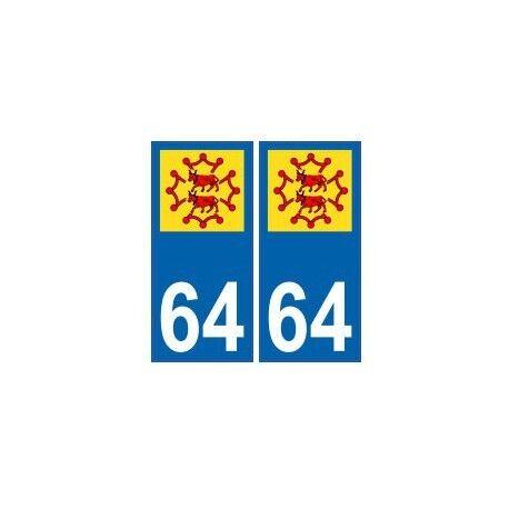64 Bearn Occitan autocollant plaque -  Angles : arrondis