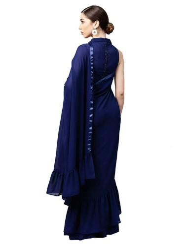 Indian Bollywood Georgette Ruffle Saree Wedding Party Wear Sari Blouse