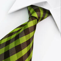 VC0096 Green Brown Striped 100% New Silk WOVEN JACQUARD Men's Tie Necktie