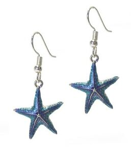 Silver-Ocean-Blue-Starfish-Earrings-Beach-Sand-Sea-Life-QUALITY-USA