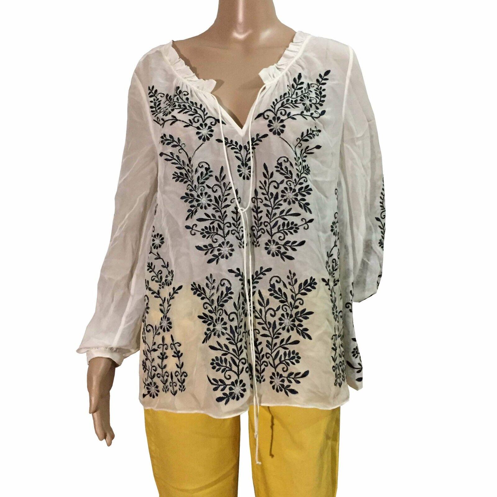 Alice & Olivia Embroiderot Long Sleeve Weiß Blouse V-Neck Tie Top Silk Größe S P