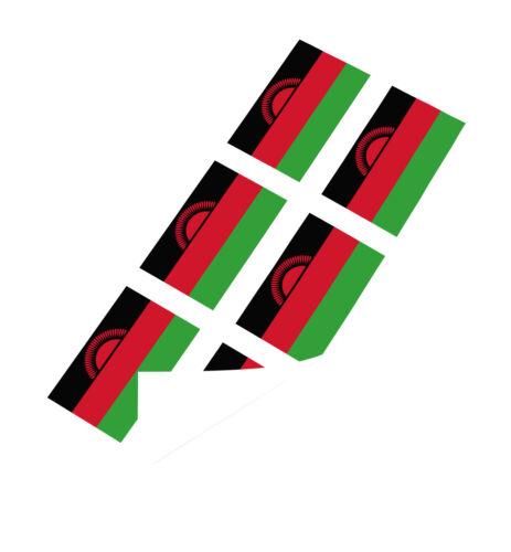 Malawi Drapeau Autocollants x6 25 mm Voiture Moto Casque Vinyle Drapeau