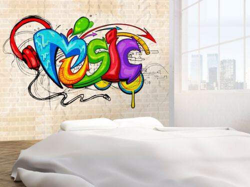 30897280 Music background graffiti style photo Wallpaper wall mural Graffiti