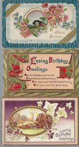 Vintage-Assorted-Birthday-Postcards-Circa-1800-039-s-1900-039-s-Lot-of-5