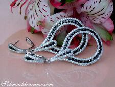 Extra lange Brillanten Ohrgehänge mit schwarzen Diamanten 4.16 ct. WG-750 8.500€