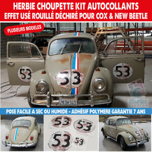 herbie 53 stickers vintage effet use autocollant vw new beetle coccinelle ebay. Black Bedroom Furniture Sets. Home Design Ideas