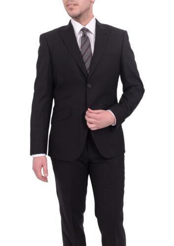 Mens 46L Ideal Slim Fit Black Tonal Mini Check Wool Suit With Peak Lapels