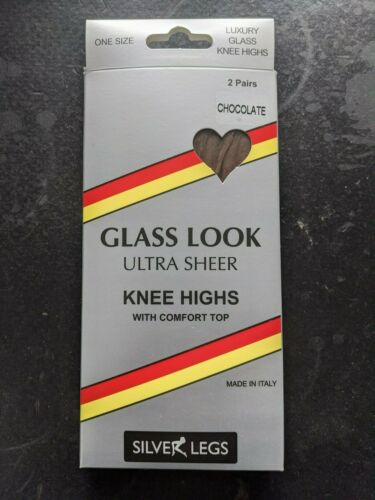 Silver Legs 2 Pair Pack Ultra Sheer Glass Translucent Knee Highs Made In Italy