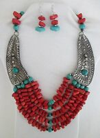 Red Natural Stones & Blue Coral Beads 5 Strands Bib Statement Necklace Set.