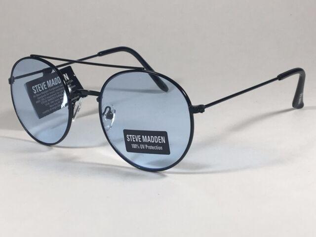 Steve Madden Round Sunglasses Black Metal Frame Light Blue Lens ...