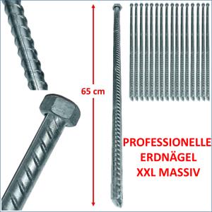 65cm XXL MASSIV Erdnägel Erdnagel Zelthering Felsbodenhering Felsnagel 4- 30 St
