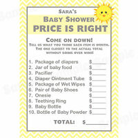 24 Baby Shower Price Is Right Game Cards - You Are My Sunshine Baby Shower