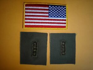 AMERICA Reversed Flag Patch + Pair CHIEF WARRANT OFFICER CW4 Subdued Patches