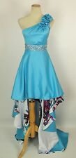 NWT Jump Apparel Low High $200 Turquoise Prom Formal Cruise Dress Size 3 Long