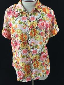 Laura-Scott-petite-top-size-PL-large-blouse-pink-orange-floral-short-sleeve