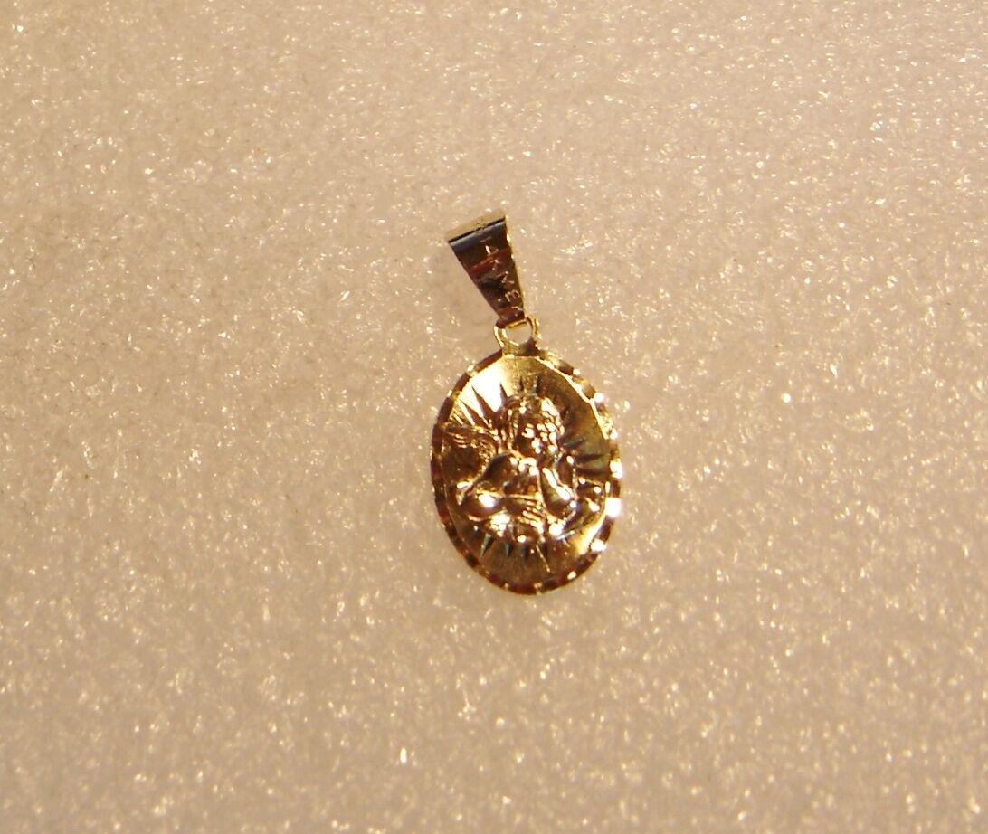14K YELLOW gold CHERUB ANGEL OVAL PENDANT CHARM N627-J