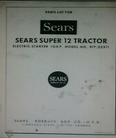 Sears Suburban Super 12 Ss/12 Garden Tractor & Engine Parts Manual 24pg (2 Books