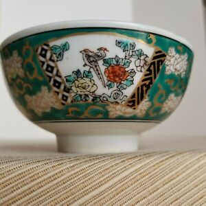 Vintage-22K-Gold-Gilded-and-Green-Imari-Handpainted-Chinese-Dragon-Rice-Bowl