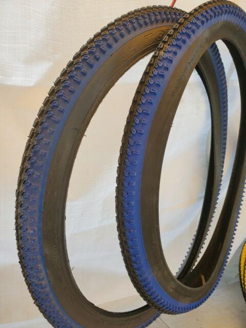 "2 TIRE 26/""X2.10/"" Blue  BLACK WALL DELI MOUNTAIN BIKE TIRES TUBES"