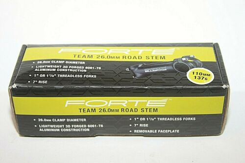 """Forte Team 26.0mm Road Bike Stem 110mm 137g 7 Degree Rise  1/"""" 1 1//8/"""" 50-1747 NEW"""