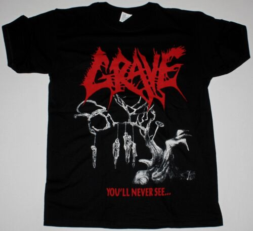 BLACK T SHIRT DEATH METAL ENTOMBED MORGOTH DISMEMBER GRAVE YOU/'LL NEVER SEE..