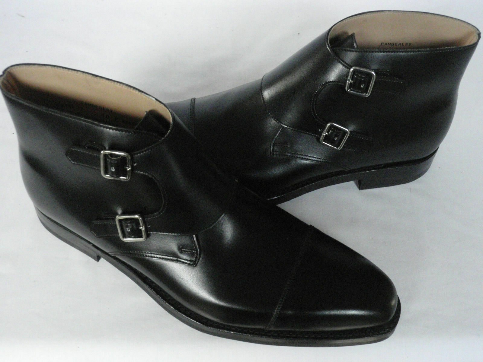 MEN HANDMADE BLACK OXFORD TOE DOUBLE MONK FORMAL BOOTS LEATHER SHOES FOR MEN