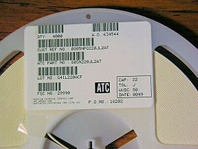 4000 ATC 0805NP0220JL2AT 22pF 50V 5/% GP Ceramic Capacitors