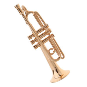 1-12-Scale-Metal-Trumpet-Trumpet-Dolls-House-Miniature-Instrument-Decoration