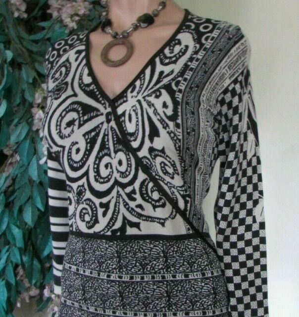 BASLER.Sz.M/L Sweater knitted Black+ivory.Geometric+Floral.Silk blend.3/4 sleeve
