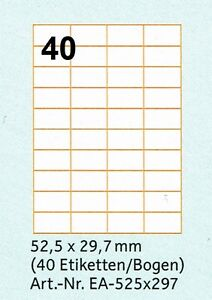 320-Etiketten-52-5-x-29-7-mm-8-Boegen-A4-zu-je-40-Etiketten-Adressaufkleber