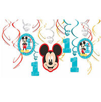 Baby Mickey Mouse Hanging Swirl Decorations First Birthday Party Supplies 1st