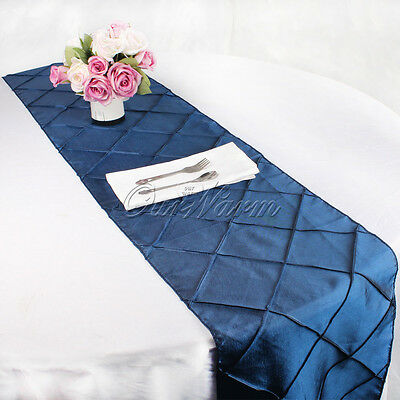 "Wedding Top Table Decor 12""x108"" Taffeta Pintuck Table Runner For Party Banquet"