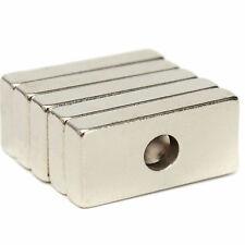 5pcs 20mm X 10mm X 3mm With 4mm Hole Block Neo Diy Rare Earth Neodymium Magnets