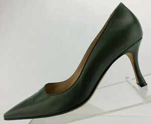 Manolo-Blahnik-Pumps-Classic-Green-Pointed-Toe-Leather-Heels-Womens-36-5-US-6-5