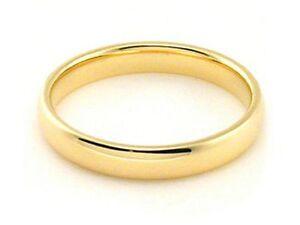 18K White Gold mens and womens plain wedding bands 3mm half round edge
