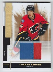 2014-15-UD-PREMIER-CORBAN-KNIGHT-RC-PATCH-19-25-ROOKIE-MATERIAL-R28-Flames