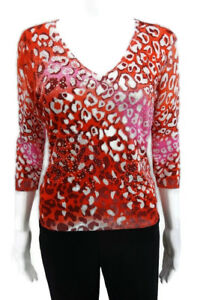 RED WHITE PINK BCBG MAX AZRIA WOMENS V NECK SEQUIN BEADS 3/4 SLEEVE SWEATER SZ M